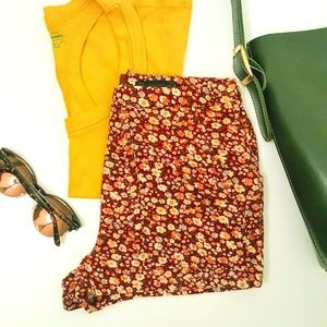 High-Waisted Floral Print Corduroy Shorts